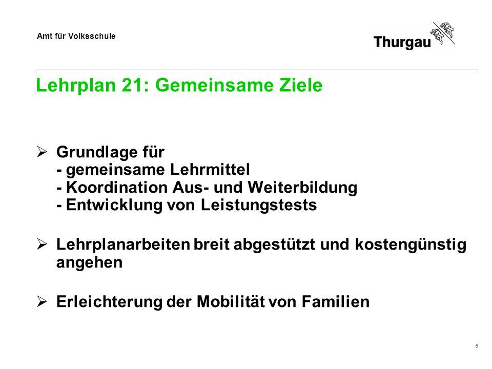 Amt für Volksschule Lehrplan 21: Gemeinsame Ziele Grundlage für - gemeinsame Lehrmittel - Koordination Aus- und Weiterbildung - Entwicklung von Leistu