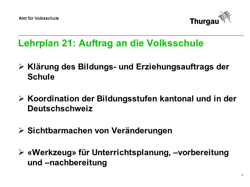 Amt für Volksschule 6 Lehrplan 21: Auftrag an die Volksschule Klärung des Bildungs- und Erziehungsauftrags der Schule Koordination der Bildungsstufen