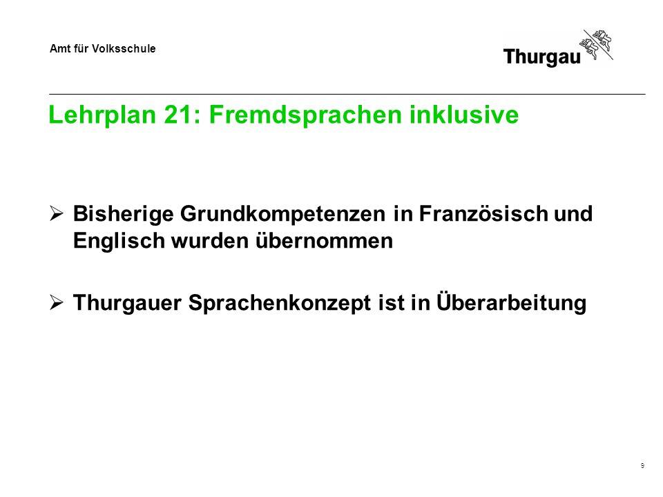 Amt für Volksschule Lehrplan 21: Fremdsprachen inklusive Bisherige Grundkompetenzen in Französisch und Englisch wurden übernommen Thurgauer Sprachenkonzept ist in Überarbeitung 9