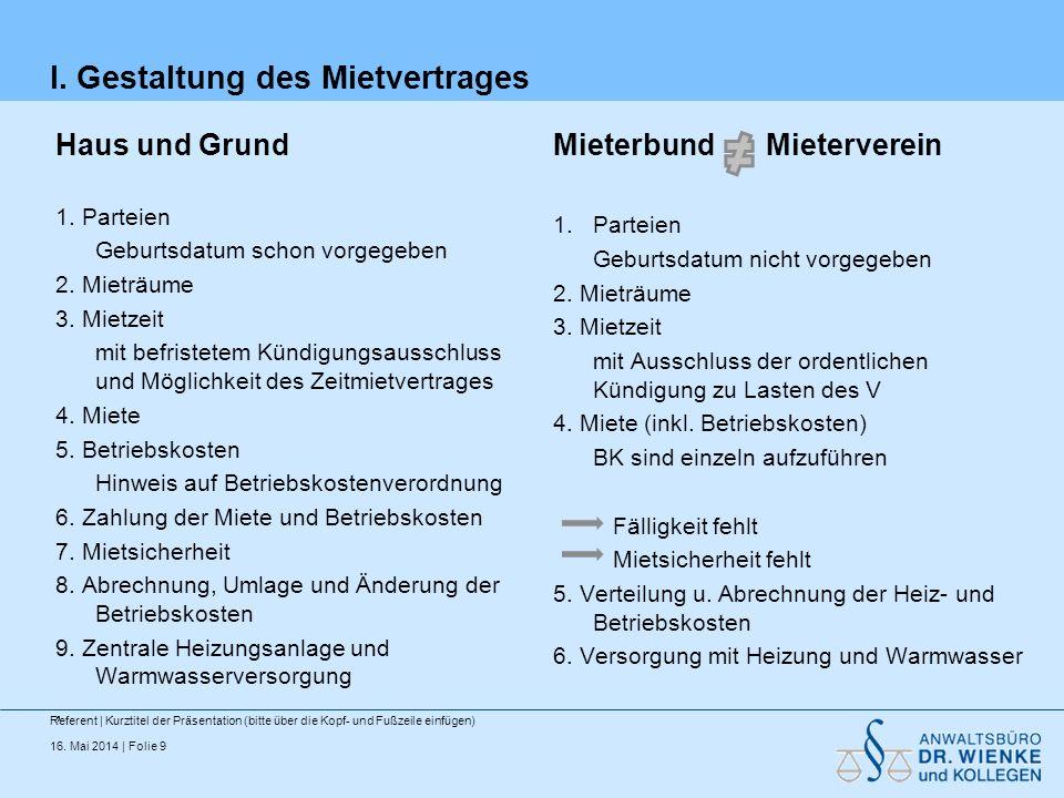 16.Mai 2014 | Folie 9 I. Gestaltung des Mietvertrages Haus und Grund 1.