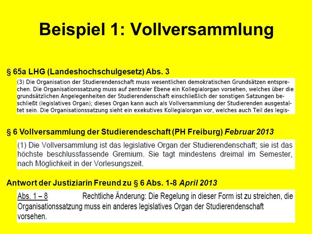 Beispiel 1: Vollversammlung § 65a LHG (Landeshochschulgesetz) Abs.