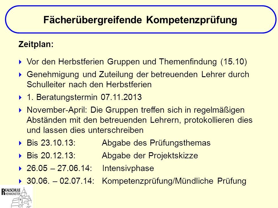 Zeitplan: Vor den Herbstferien Gruppen und Themenfindung (15.10) Genehmigung und Zuteilung der betreuenden Lehrer durch Schulleiter nach den Herbstfer