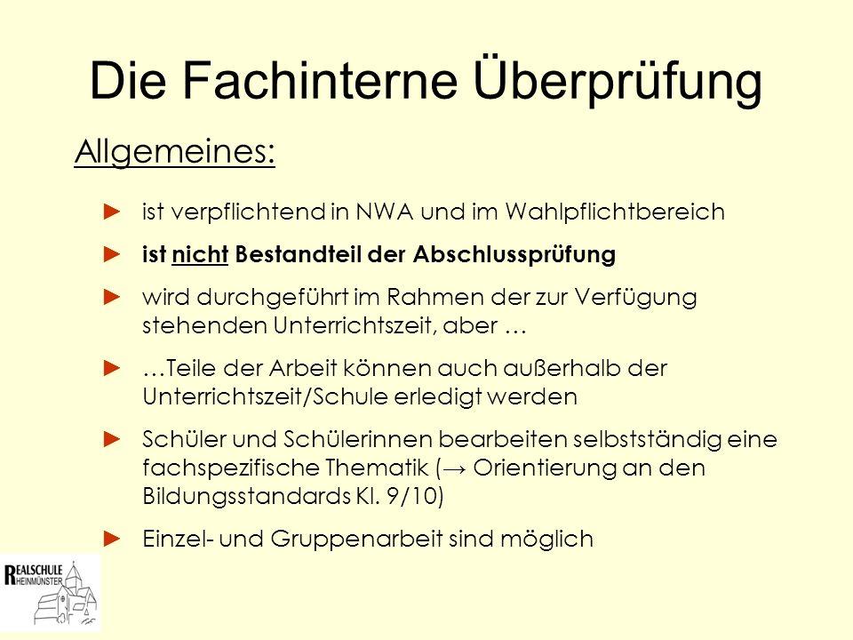 Die Fachinterne Überprüfung 3 Leistungskomponenten: I.