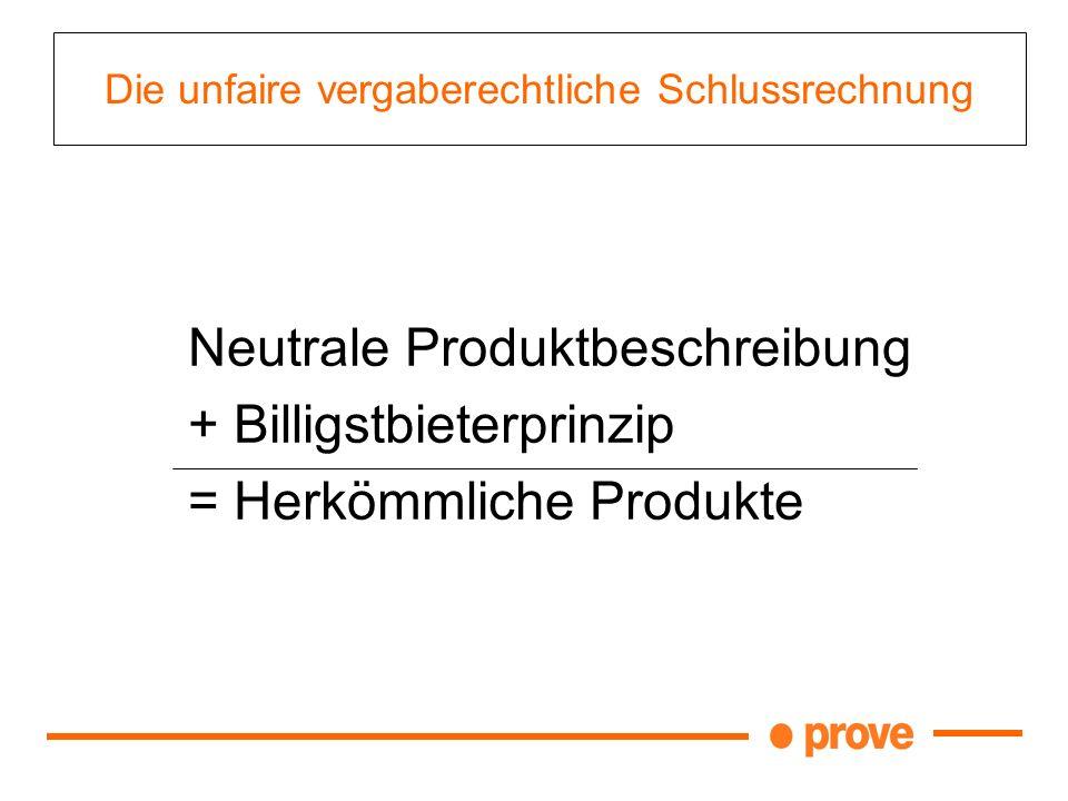 Die unfaire vergaberechtliche Schlussrechnung Neutrale Produktbeschreibung + Billigstbieterprinzip = Herkömmliche Produkte