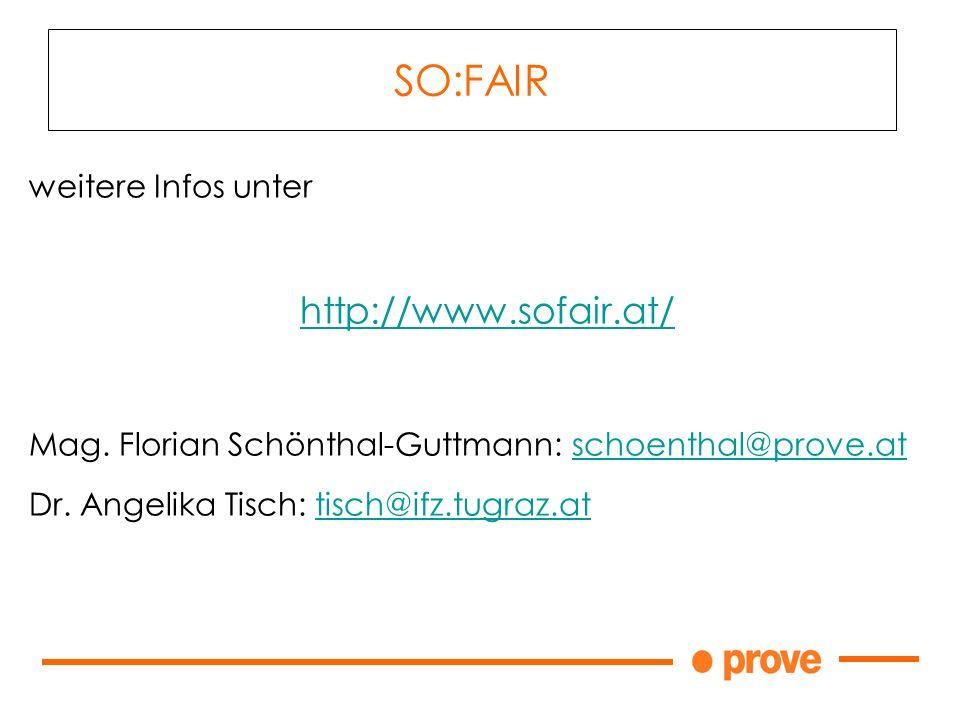 SO:FAIR weitere Infos unter http://www.sofair.at/ Mag.