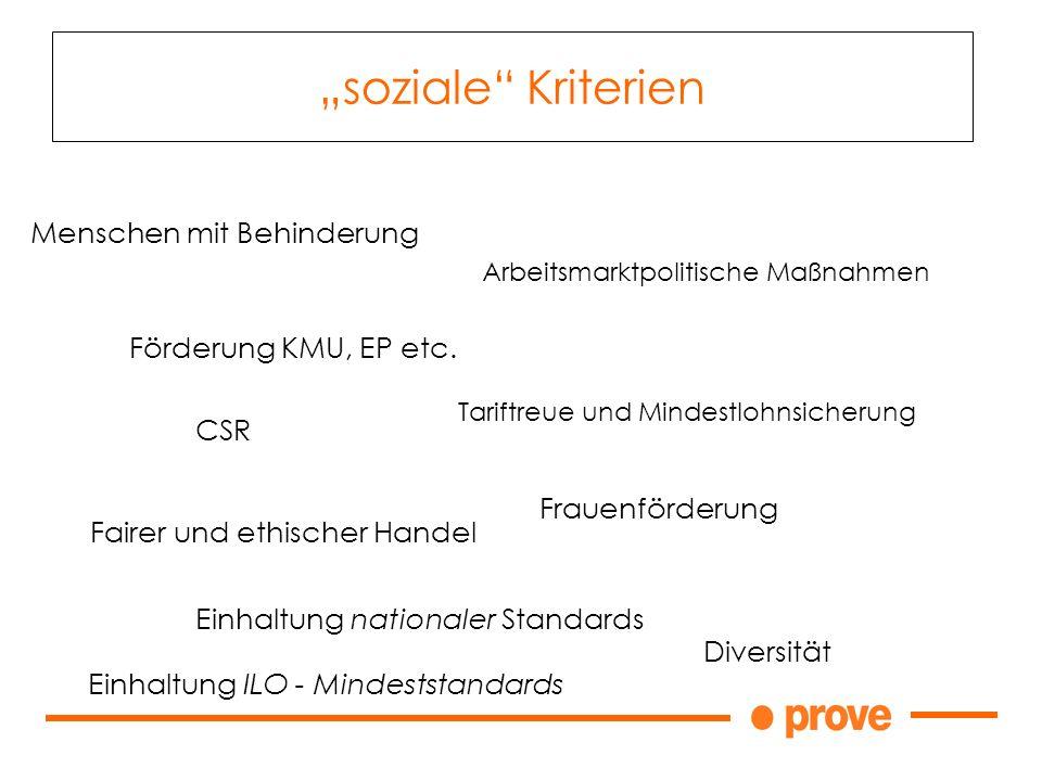 soziale Kriterien Förderung KMU, EP etc.