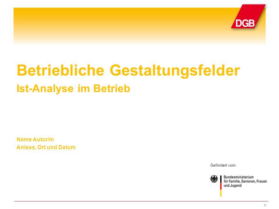 1 Betriebliche Gestaltungsfelder Ist-Analyse im Betrieb Name Autor/in Anlass, Ort und Datum Gefördert vom: