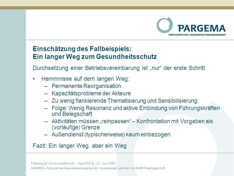 PARGEMA – Partizipatives Gesundheitsmanagement.