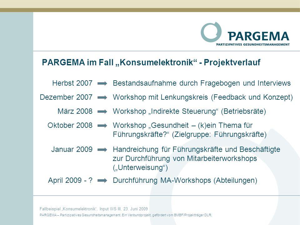 PARGEMA – Partizipatives Gesundheitsmanagement. Ein Verbundprojekt, gefördert vom BMBF/Projektträger DLR. Fallbeispiel Konsumelektronik, Input WS III,