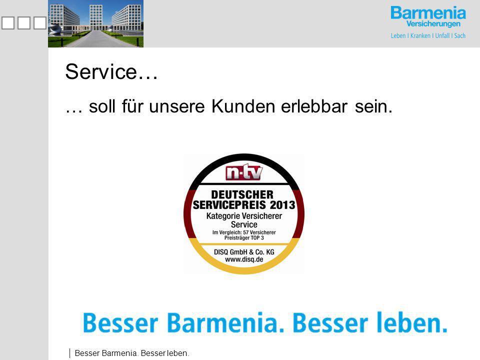 Besser Barmenia. Besser leben. Service… … soll für unsere Kunden erlebbar sein.