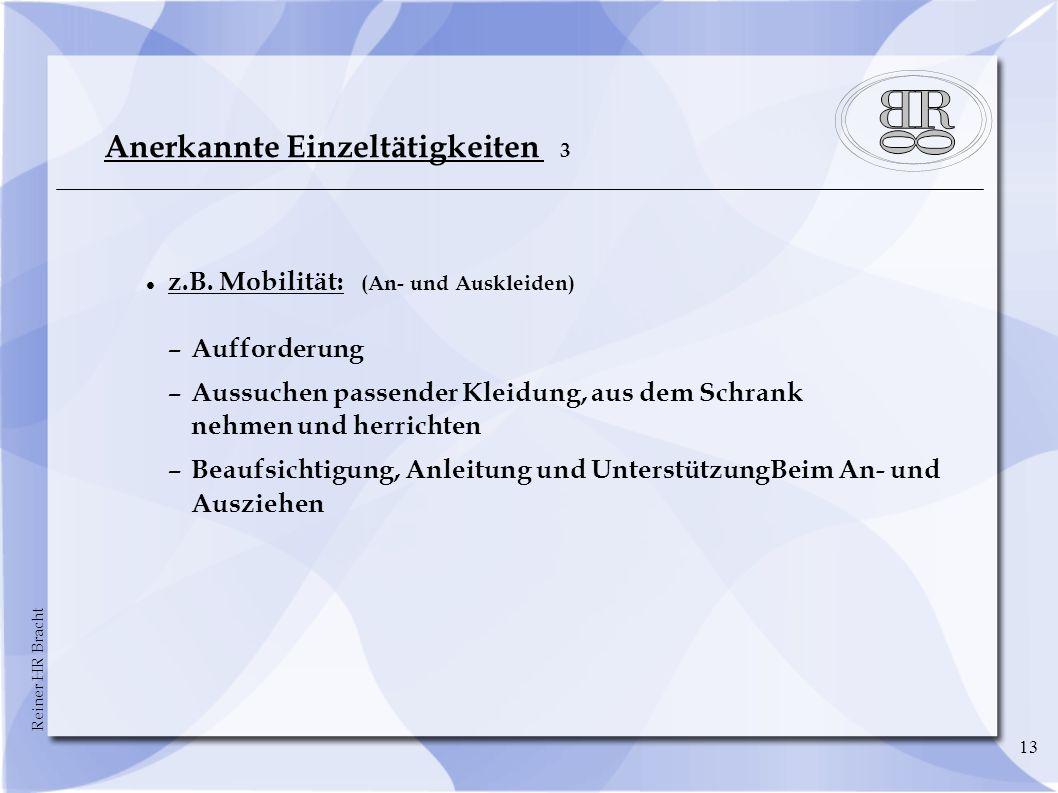 Reiner HR Bracht 13 Anerkannte Einzeltätigkeiten 3 z.B.