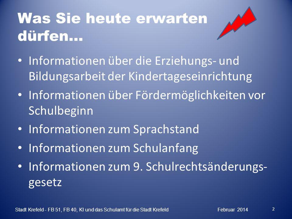 Das Kind und seine Partner Elternhaus Grund- schule Kind 3 Stadt Krefeld - FB 51, FB 40, KI und das Schulamt für die Stadt Krefeld Februar 2014 Kindertages- einrichtung