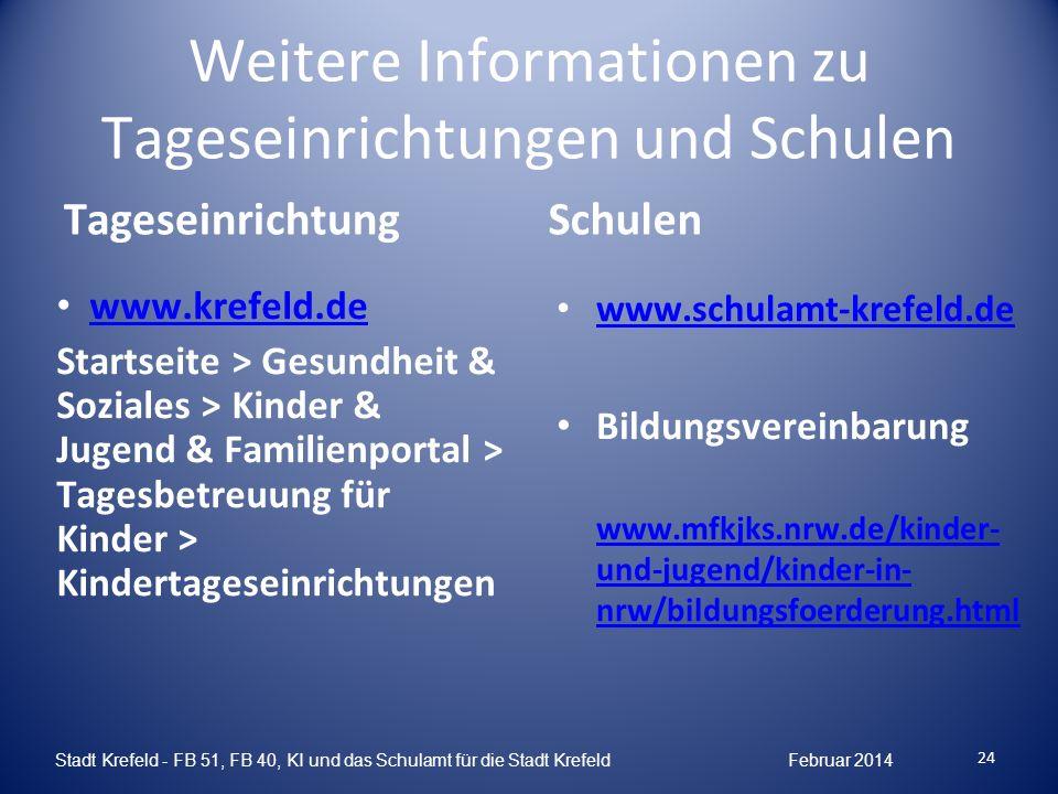 24 Stadt Krefeld - FB 51, FB 40, KI und das Schulamt für die Stadt Krefeld Februar 2014 Weitere Informationen zu Tageseinrichtungen und Schulen Tagese