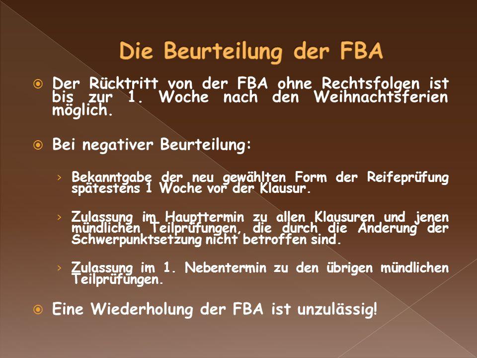 Der Rücktritt von der FBA ohne Rechtsfolgen ist bis zur 1.