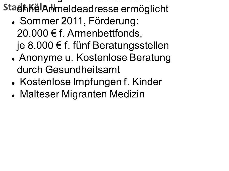 Stadt Köln II Erstellung von Geburtsurkunden ohne Anmeldeadresse ermöglicht Sommer 2011, Förderung: 20.000 f. Armenbettfonds, je 8.000 f. fünf Beratun