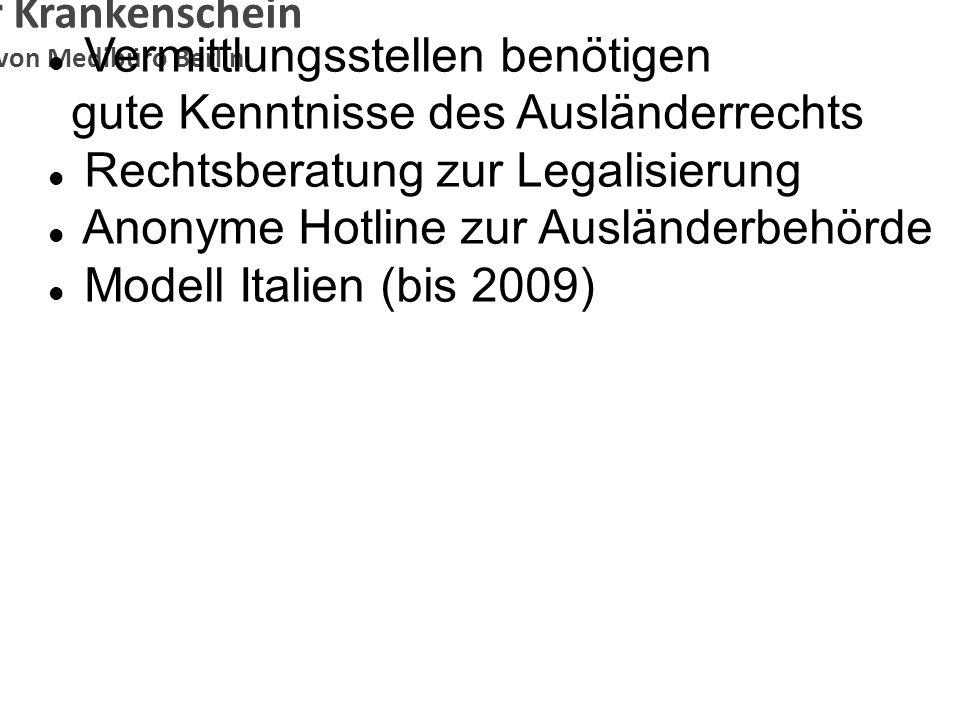 Anonymer Krankenschein Konzeption von Medibüro Berlin Vermittlungsstellen benötigen gute Kenntnisse des Ausländerrechts Rechtsberatung zur Legalisieru