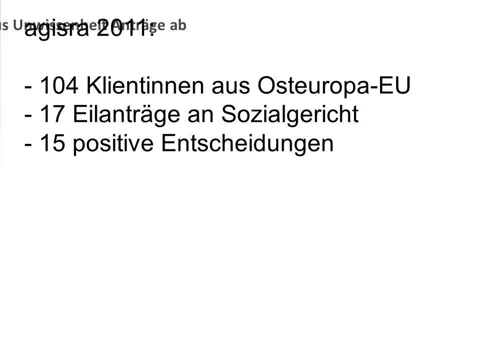 Jobcenter lehnen aus Unwissenheit Anträge ab agisra 2011: - 104 Klientinnen aus Osteuropa-EU - 17 Eilanträge an Sozialgericht - 15 positive Entscheidu