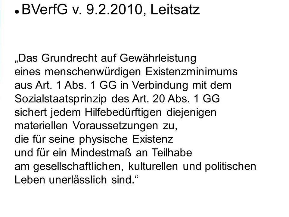 BVerfG v. 9.2.2010, Leitsatz Das Grundrecht auf Gewährleistung eines menschenwürdigen Existenzminimums aus Art. 1 Abs. 1 GG in Verbindung mit dem Sozi