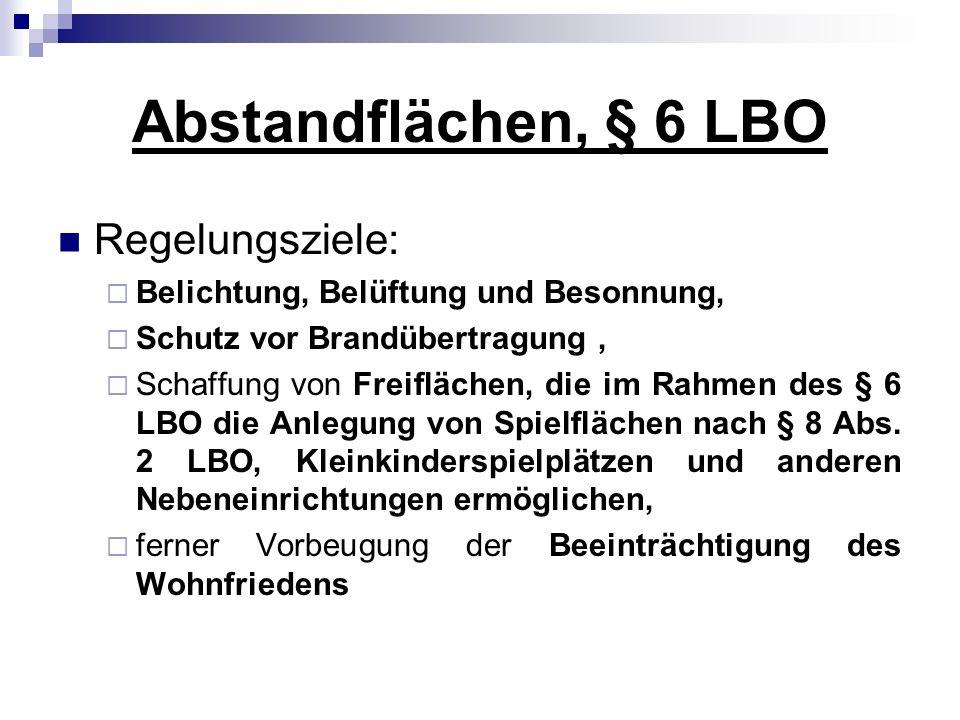 Abstandflächen, § 6 LBO Regelungsziele: Belichtung, Belüftung und Besonnung, Schutz vor Brandübertragung, Schaffung von Freiflächen, die im Rahmen des