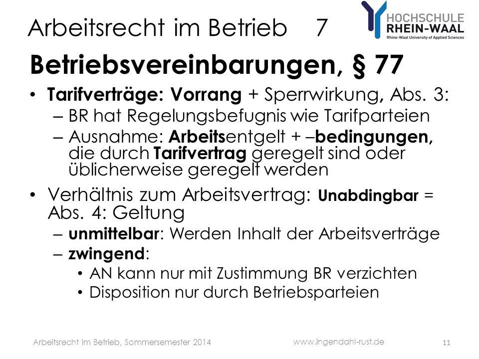 Arbeitsrecht im Betrieb 7 Betriebsvereinbarungen, § 77 Tarifverträge: Vorrang + Sperrwirkung, Abs. 3: – BR hat Regelungsbefugnis wie Tarifparteien – A