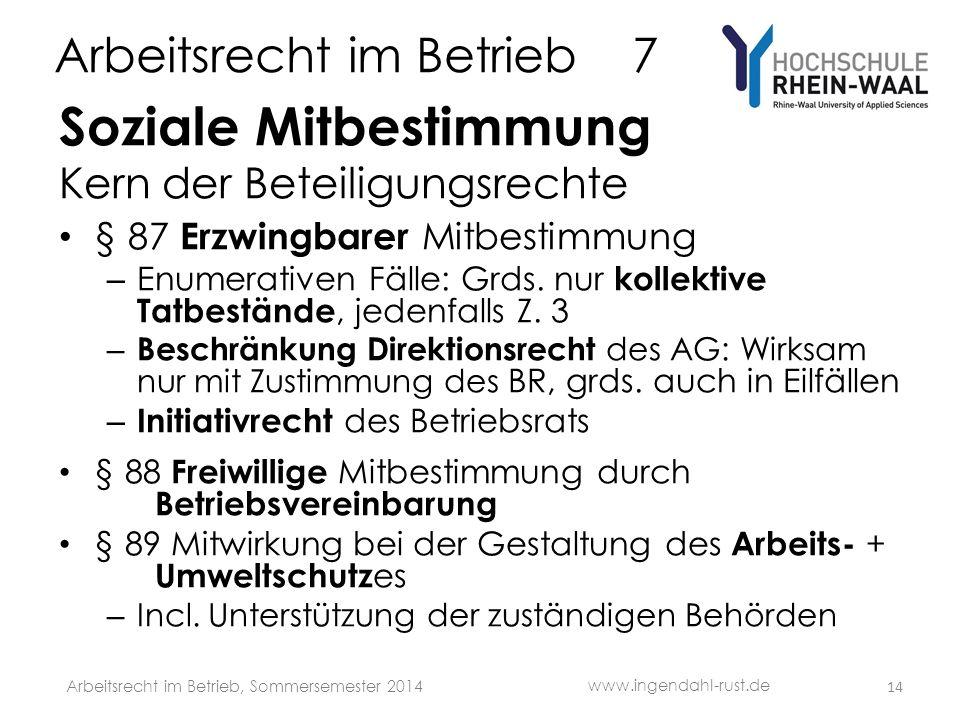 Arbeitsrecht im Betrieb 7 Soziale Mitbestimmung Kern der Beteiligungsrechte § 87 Erzwingbarer Mitbestimmung – Enumerativen Fälle: Grds. nur kollektive