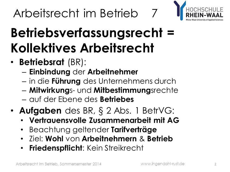 Arbeitsrecht im Betrieb 7 Betriebsverfassungsrecht = Kollektives Arbeitsrecht Betriebsrat (BR): – Einbindung der Arbeitnehmer – in die Führung des Unt