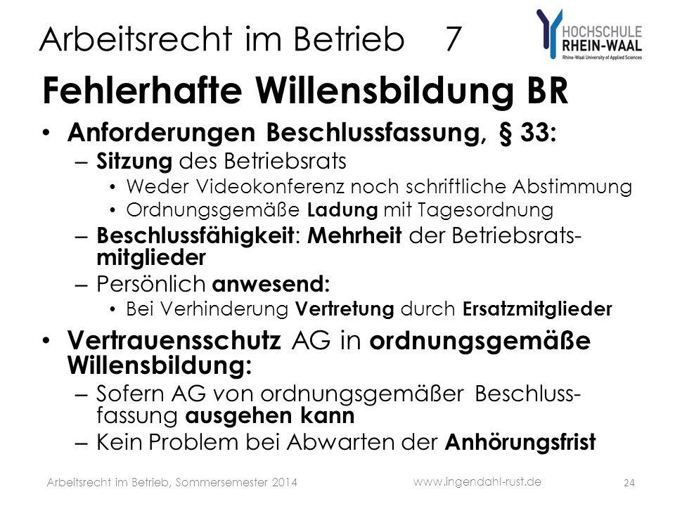 Arbeitsrecht im Betrieb 7 Fehlerhafte Willensbildung BR Anforderungen Beschlussfassung, § 33: – Sitzung des Betriebsrats Weder Videokonferenz noch sch