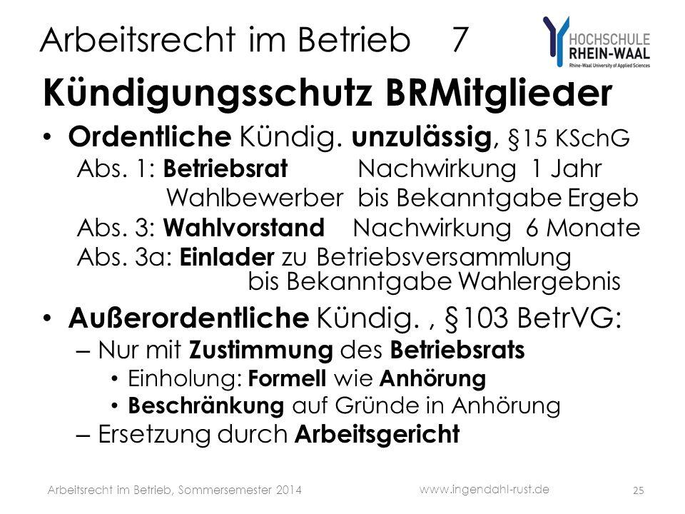 Arbeitsrecht im Betrieb 7 Kündigungsschutz BRMitglieder Ordentliche Kündig. unzulässig, §15 KSchG Abs. 1: Betriebsrat Nachwirkung 1 Jahr Wahlbewerber