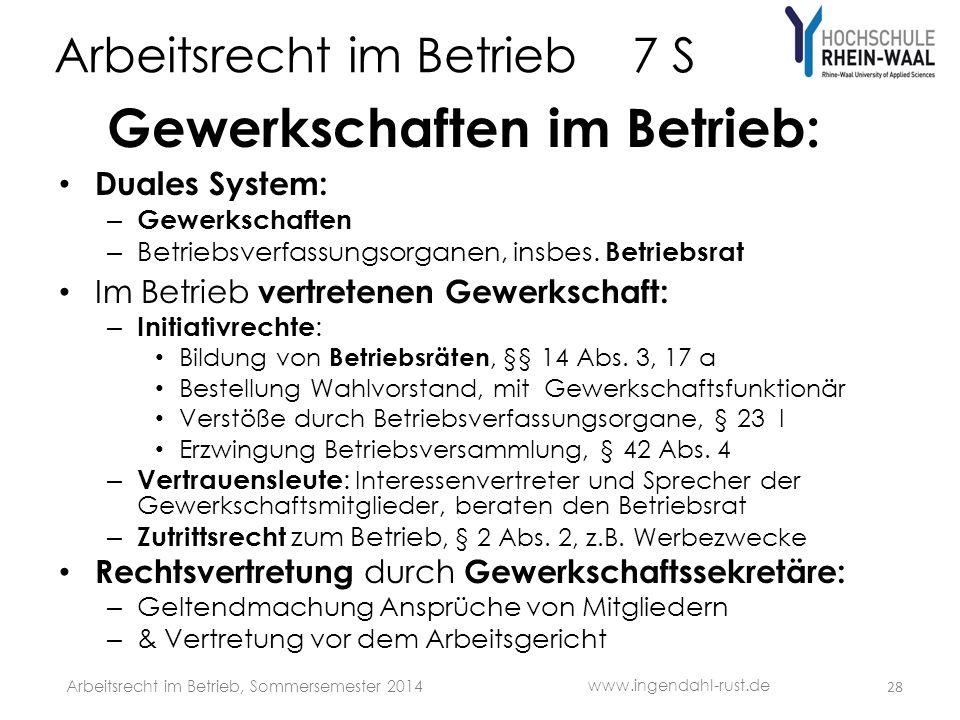 Arbeitsrecht im Betrieb 7 S Gewerkschaften im Betrieb: Duales System: – Gewerkschaften – Betriebsverfassungsorganen, insbes. Betriebsrat Im Betrieb ve
