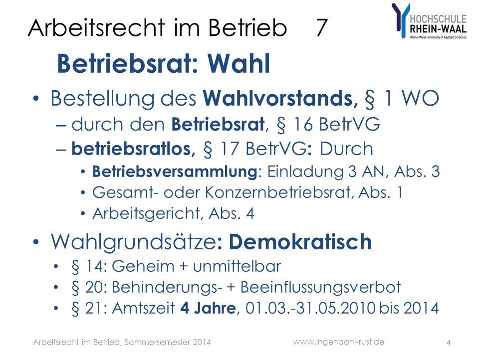 Arbeitsrecht im Betrieb 7 Betriebsrat: Wahl Wählerliste, § 2 WO : Aufstellung durch Wahlvorstand mit Mehrheit, Abs.