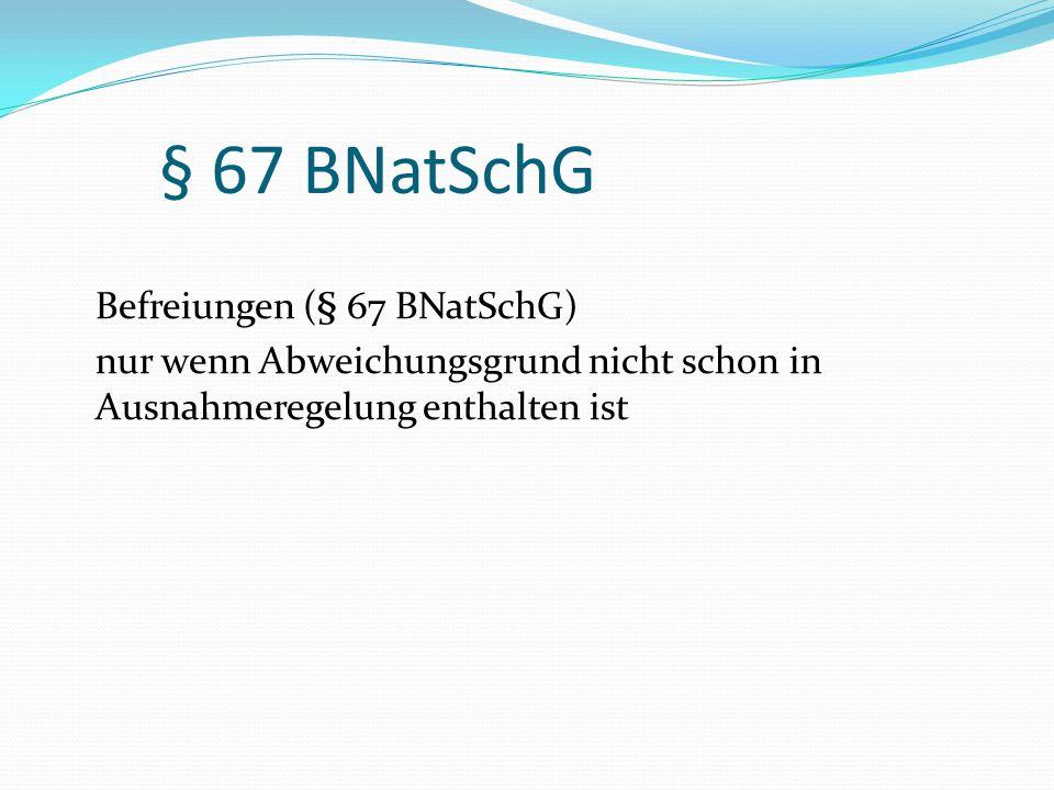 § 67 BNatSchG Befreiungen (§ 67 BNatSchG) nur wenn Abweichungsgrund nicht schon in Ausnahmeregelung enthalten ist