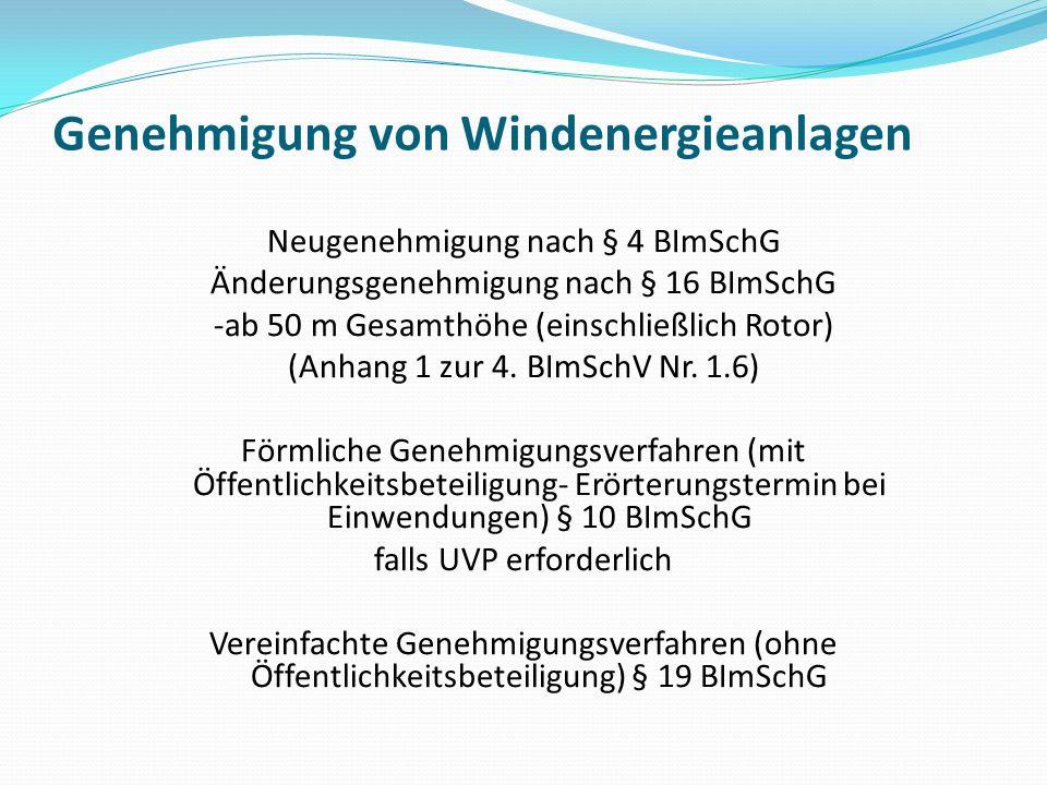 Genehmigung von Windenergieanlagen Neugenehmigung nach § 4 BImSchG Änderungsgenehmigung nach § 16 BImSchG -ab 50 m Gesamthöhe (einschließlich Rotor) (