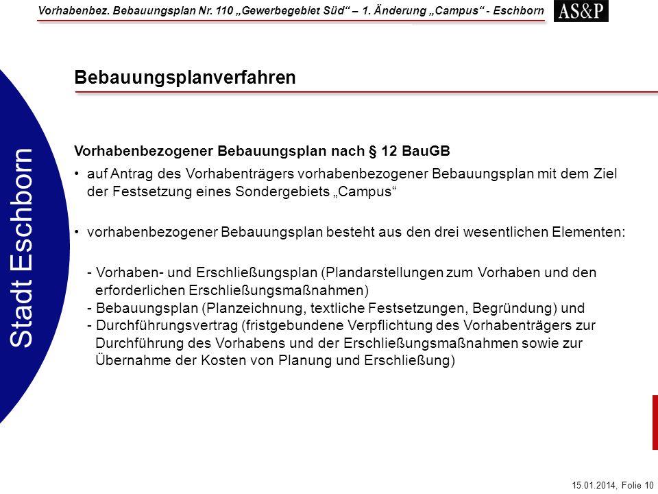 Vorhabenbez. Bebauungsplan Nr. 110 Gewerbegebiet Süd – 1. Änderung Campus - Eschborn 15.01.2014, Folie 10 Stadt Eschborn Vorhabenbezogener Bebauungspl