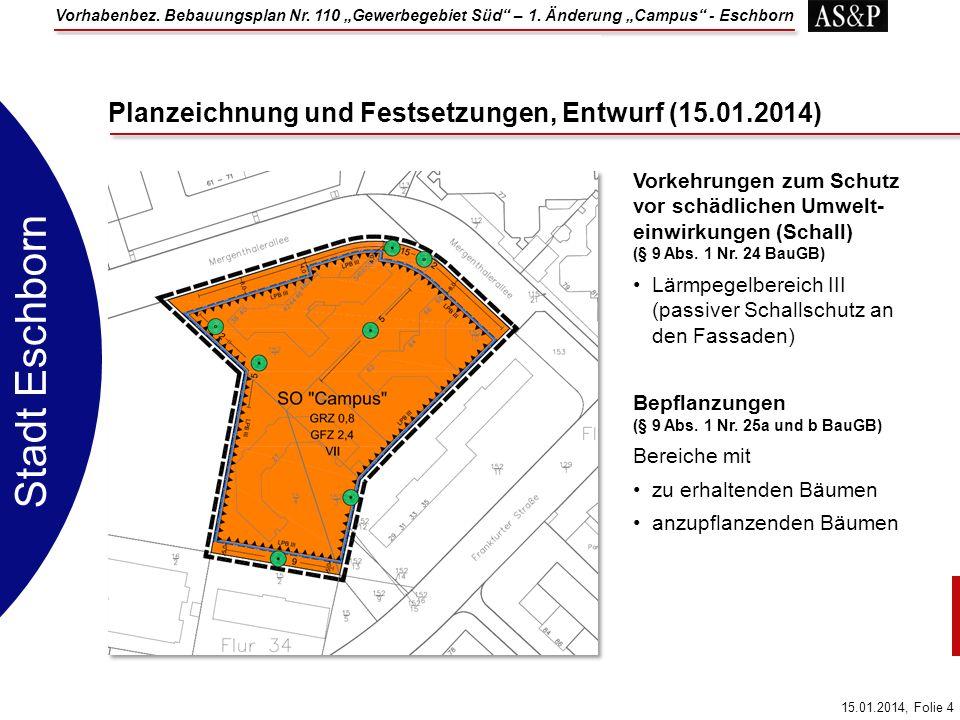 Vorhabenbez. Bebauungsplan Nr. 110 Gewerbegebiet Süd – 1. Änderung Campus - Eschborn 15.01.2014, Folie 4 Stadt Eschborn Vorkehrungen zum Schutz vor sc