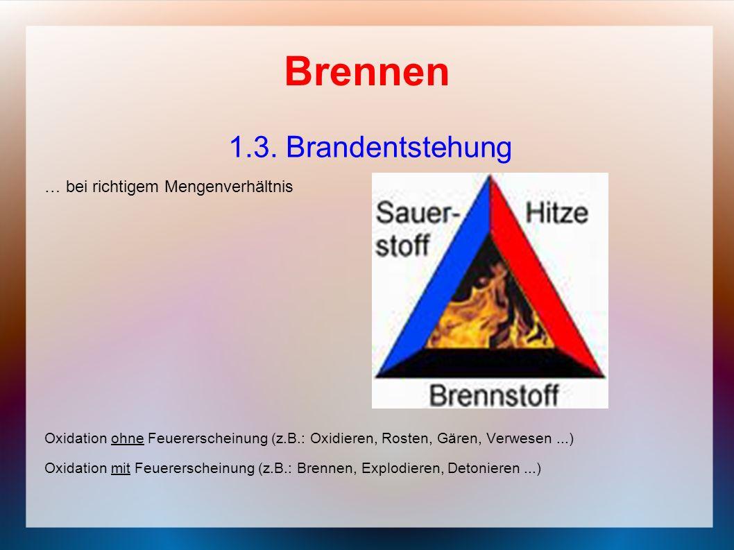 Brennen 1.3. Brandentstehung … bei richtigem Mengenverhältnis Oxidation ohne Feuererscheinung (z.B.: Oxidieren, Rosten, Gären, Verwesen...) Oxidation