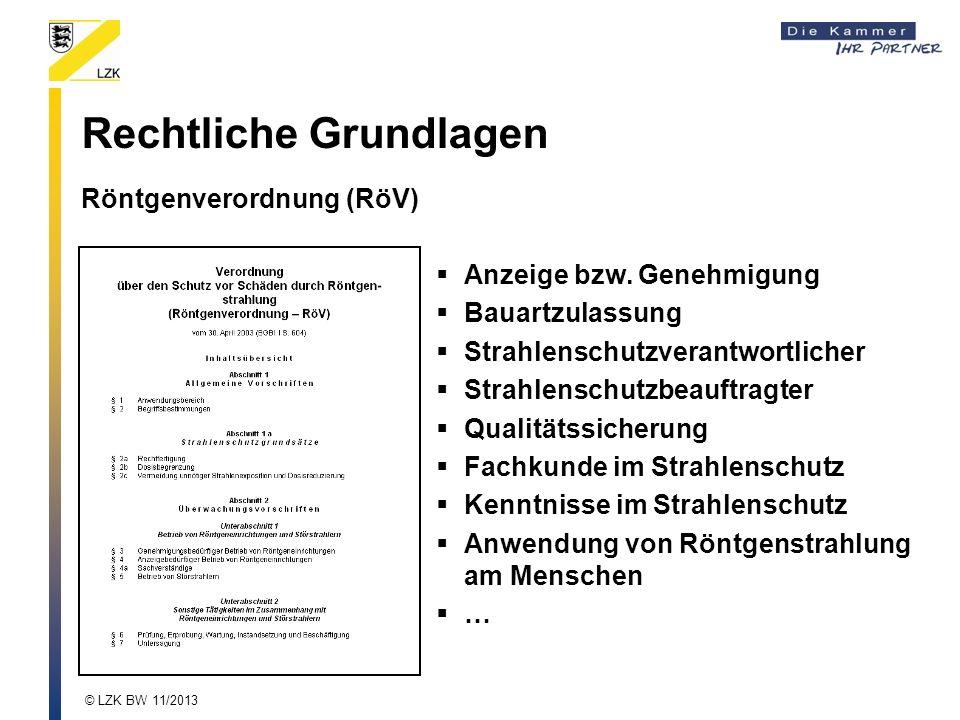 Rechtliche Grundlagen Röntgenverordnung (RöV) Anzeige bzw. Genehmigung Bauartzulassung Strahlenschutzverantwortlicher Strahlenschutzbeauftragter Quali