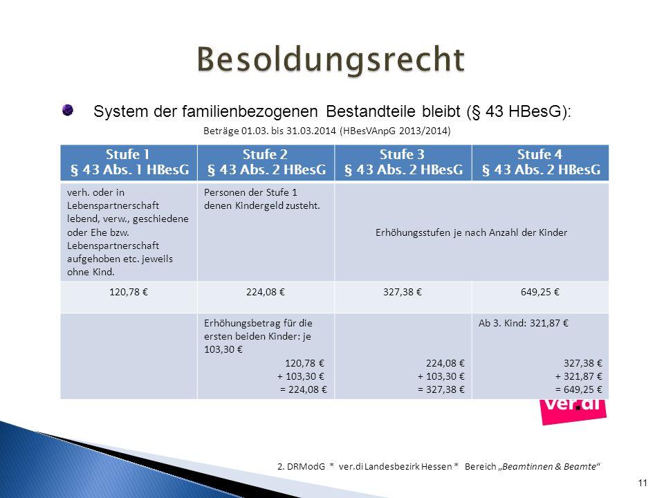 11 2. DRModG * ver.di Landesbezirk Hessen * Bereich Beamtinnen & Beamte System der familienbezogenen Bestandteile bleibt (§ 43 HBesG): Beträge 01.03.