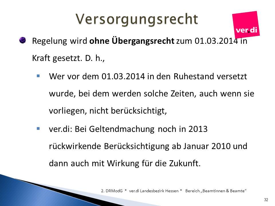 Regelung wird ohne Übergangsrecht zum 01.03.2014 in Kraft gesetzt. D. h., Wer vor dem 01.03.2014 in den Ruhestand versetzt wurde, bei dem werden solch