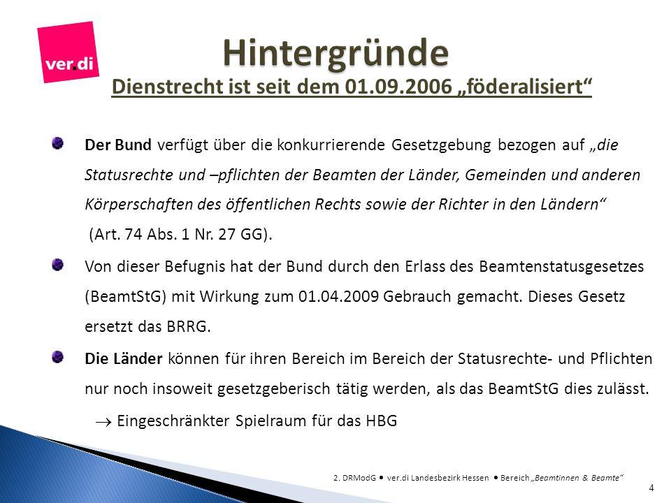 Dienstrecht ist seit dem 01.09.2006 föderalisiert Der Bund verfügt über die konkurrierende Gesetzgebung bezogen auf die Statusrechte und –pflichten de