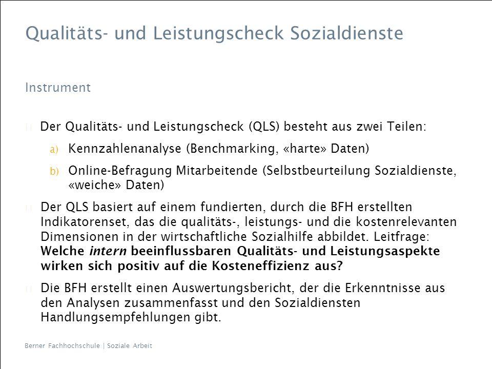 Berner Fachhochschule | Soziale Arbeit Qualitäts- und Leistungscheck Sozialdienste Instrument Der Qualitäts- und Leistungscheck (QLS) besteht aus zwei