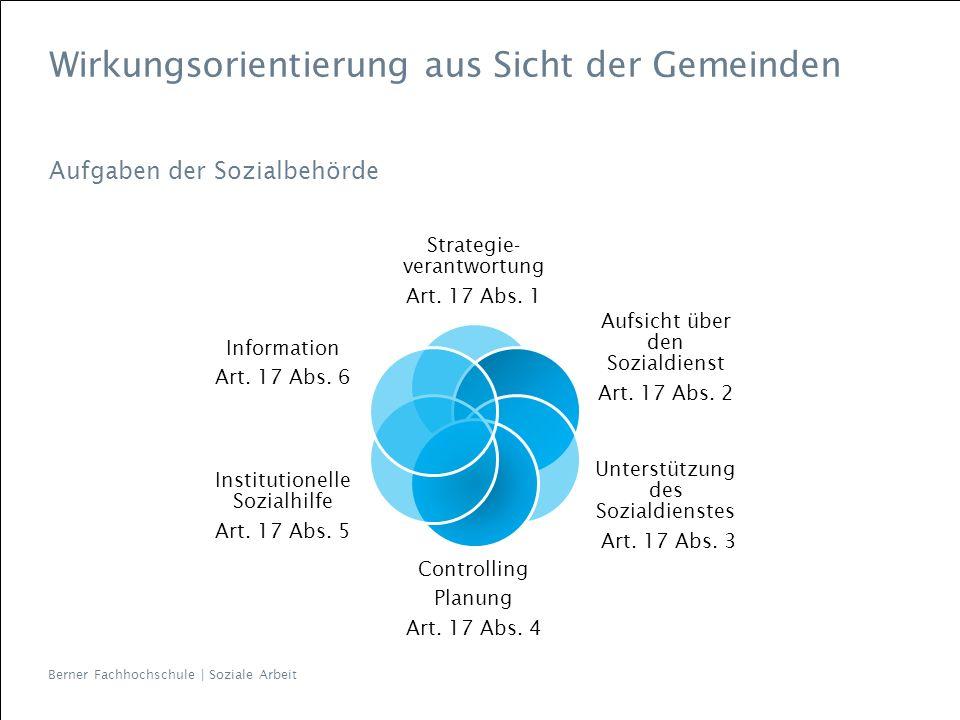 Berner Fachhochschule | Soziale Arbeit Wirkungsorientierung aus Sicht der Gemeinden Aufgaben der Sozialbehörde Strategie- verantwortung Art. 17 Abs. 1