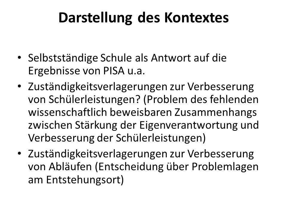 Darstellung des Kontextes Selbstständige Schule als Antwort auf die Ergebnisse von PISA u.a. Zuständigkeitsverlagerungen zur Verbesserung von Schülerl