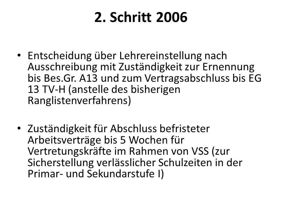 2. Schritt 2006 Entscheidung über Lehrereinstellung nach Ausschreibung mit Zuständigkeit zur Ernennung bis Bes.Gr. A13 und zum Vertragsabschluss bis E