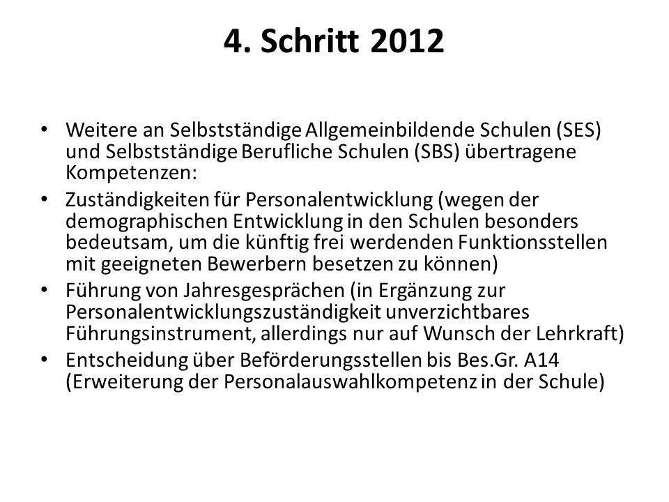 4. Schritt 2012 Weitere an Selbstständige Allgemeinbildende Schulen (SES) und Selbstständige Berufliche Schulen (SBS) übertragene Kompetenzen: Zuständ