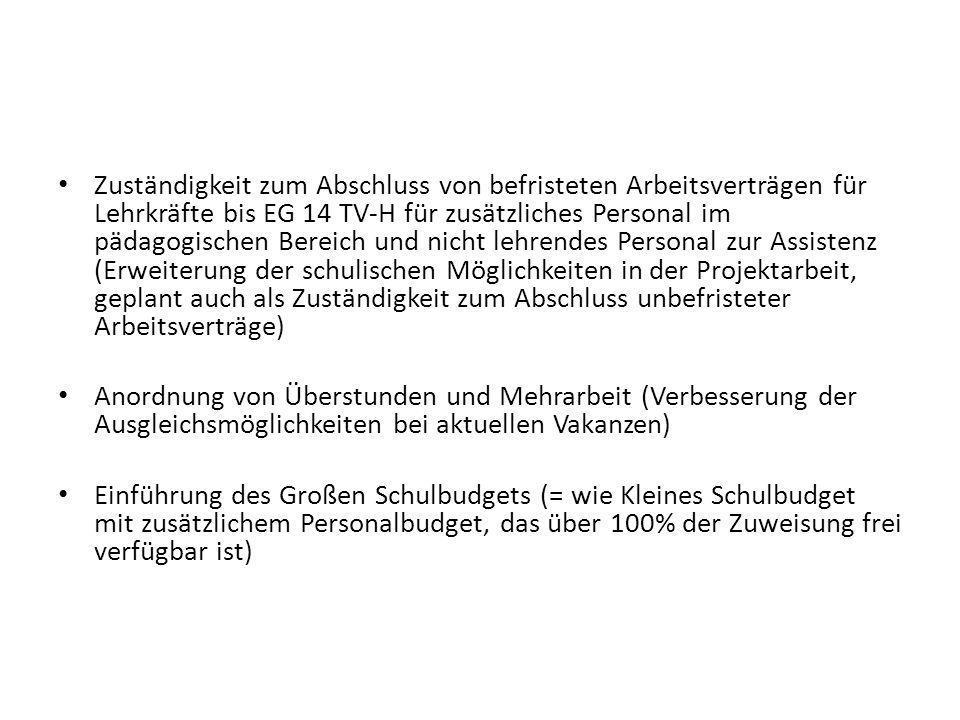 Zuständigkeit zum Abschluss von befristeten Arbeitsverträgen für Lehrkräfte bis EG 14 TV-H für zusätzliches Personal im pädagogischen Bereich und nich