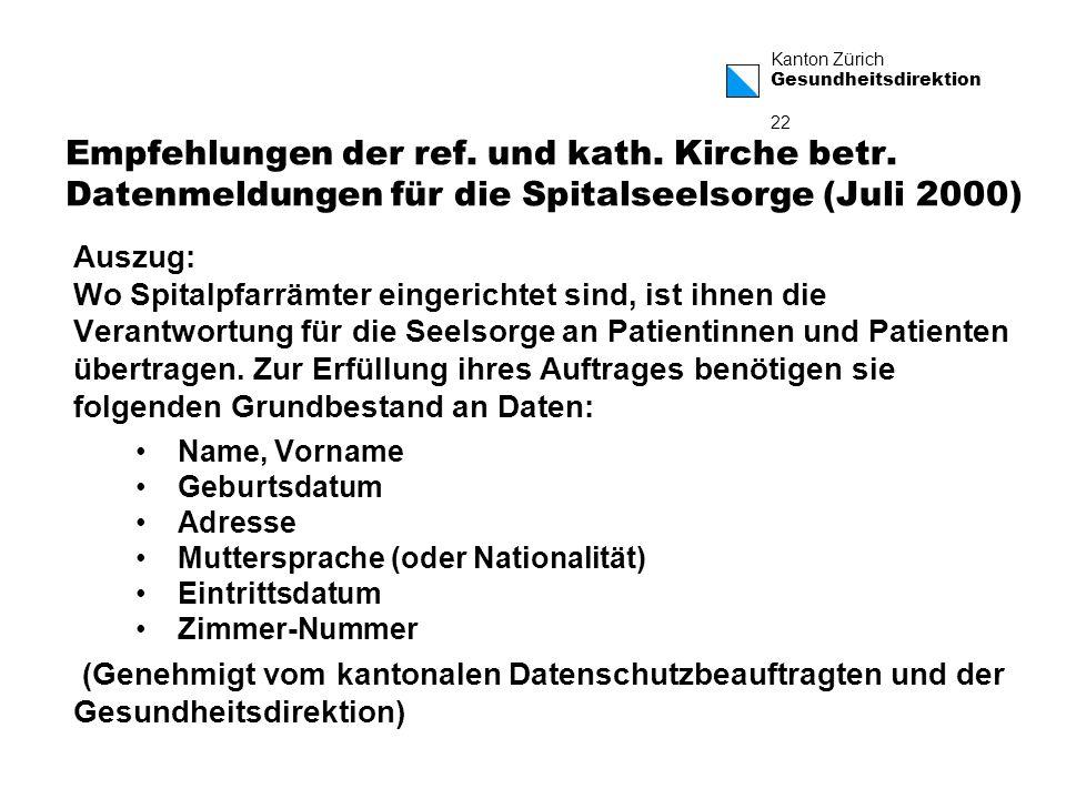 Kanton Zürich Gesundheitsdirektion 22 Empfehlungen der ref.