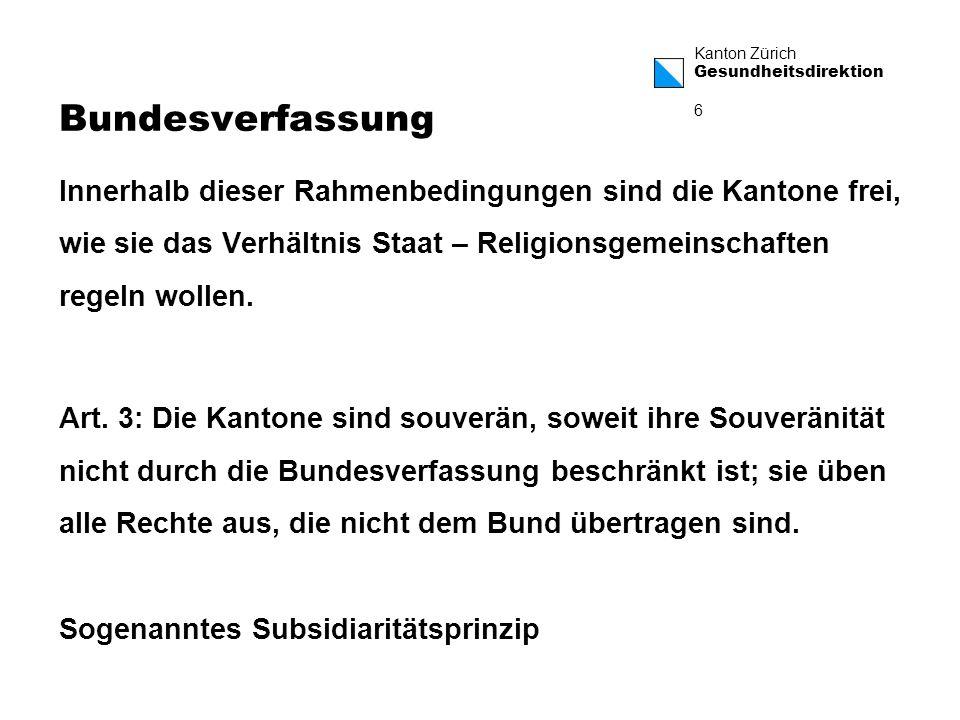 Kanton Zürich Gesundheitsdirektion 7 Konsequenzen dieses Grundrechts insbesondere für die Spitalseelsorge 1.Recht von natürlichen Personen und damit von Patientinnen und Patienten, im Rahmen der Rechtsordnung die seelsorgerischen Dienste ihrer jeweiligen Konfession in Anspruch nehmen zu können.