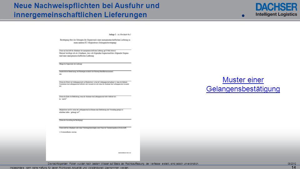 Die nachfolgenden Folien wurden nach bestem Wissen auf Basis der Rechtsauffassung der Verfasser erstellt, sind jedoch unverbindlich. 08/2012 Insbesond