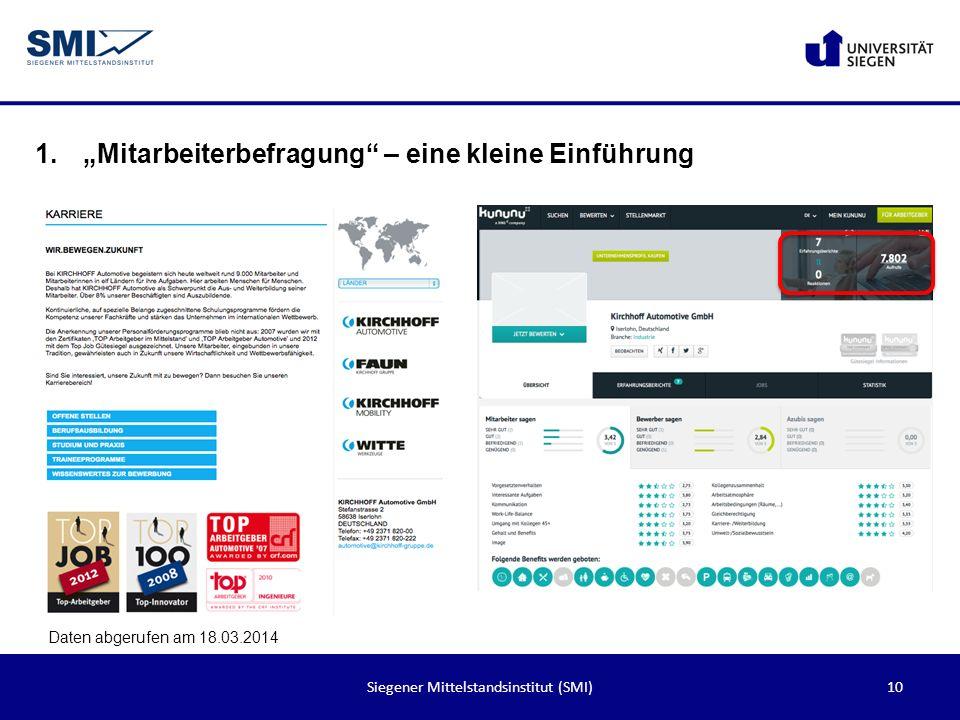10Siegener Mittelstandsinstitut (SMI) 1.Mitarbeiterbefragung – eine kleine Einführung Daten abgerufen am 18.03.2014