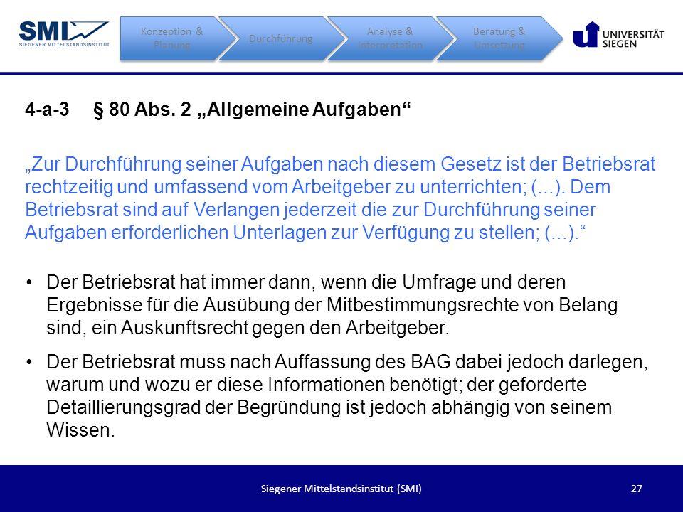 27Siegener Mittelstandsinstitut (SMI) 4-a-3§ 80 Abs. 2 Allgemeine Aufgaben Zur Durchführung seiner Aufgaben nach diesem Gesetz ist der Betriebsrat rec